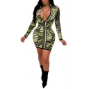 Womens Sexy Night Club Plunging Neck Long Sleeve Green Striped Mini Tight Dress