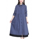 Trendy Polka Dot Printed Long Sleeve Button Down Maxi Swing Linen Shirt Dress for Women