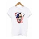 Unique Flag Skull Printed Round Neck Short Sleeve White T-Shirt