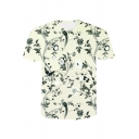 Mens Summer Chic Floral Printed Round Neck Short Sleeve Loose Fitted T-Shirt