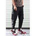Men's Fashion Diagonal Stripes Letter Print Drawstring Waist Elastic Cuff Cargo Pants