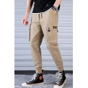 Street Style Flap Pocket Drawstring Waist Solid Color Slim Cut Men's Fashion Cotton Cargo Pants