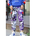Men's Trendy Popular Camouflage Printed Flap Pocket Purple Cotton Casual Cargo Pants