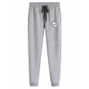 Casual Fashion Logo Pattern Drawstring Waist Sports Joggers Cotton Sweatpants for Men