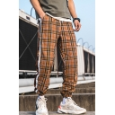 Men's Stylish Plaid Letter Pattern Tape Patched Side Drawstring Waist Elastic Cuffs Casual Track Pants