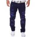 New Stylish Cool Distressed Stretch Slim Fitted Ripped Jeans Cotton Cargo Pants for Men