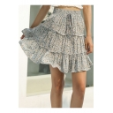 Girls Boho Style Chic Floral Printed Drawstring Tied Waist Mini Layered A-Line Skirt