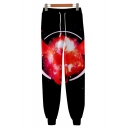 Trendy 3D Printed Drawstring Waist Black Sport Casual Joggers Sweatpants