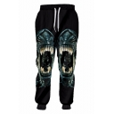 Trendy 3D Demon Printed Drawstring Waist Men's Black Polyester Sport Casual Joggers Sweatpants