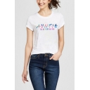 Trendy Colorful Letter AUNTIE I'LL BE THERE FOR YOU Printed Short Sleeve Casual Tee