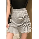 Summer Designer Drawstring Ruched Side High Rise Mini Plain A-Line Ruffled Skirt