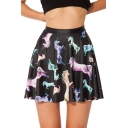 Cartoon Unicorn Pattern Black Mini Pleated Skater Skirt