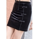 Chinese Style Vintage Frog Button High Rise Plain Black Mini Bodycon Skirt