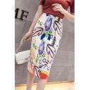Womens Fashion White Pattern High Rise Midi White Pencil Skirt