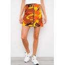 Stylish Camo Printed Zipper Fly Mini A-Line Bodycon Skirt for Women