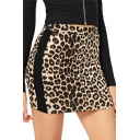 New Stylish Khaki Leopard Print Elastic Waist Mini Short Bodycon Skirt