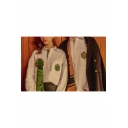 New Stylish Preppy Style University Badge Patched Long Sleeve Unisex White Button Shirt