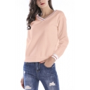 Trendy Striped Trim V-Neck Long Sleeve Casual Pink Sweatshirt