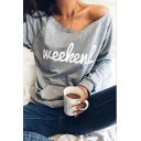 Womens Popular Letter WEEKEND Pattern One Shoulder Long Sleeve Loose Fit Pullover Sweatshirt