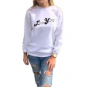 Unique Cool Simple Letter LOVE YOU Printed Crewneck Long Sleeve White Sweatshirt