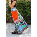 Summer Holiday Fashion Orange Red Tribal Printed Drawstring Waist Maxi Flared Skirt