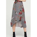 New Stylish Grey Floral Plaid Printed High Rise Button Down Asymmetrical Ruffled Skirt