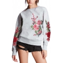 Womens Chic Floral Embroidery Crew Neck Long Sleeve Pullover Casual Sweatshirt