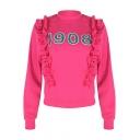 Simple Number 1908 Ruffled Hem Mock Neck Long Sleeve Rose Red Sweatshirt