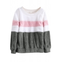 Hot Popular Colorblock Round Neck Long Sleeve Fluffy Fleece Casual Sweatshirt
