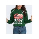 Happy Halloween Pumpkin Printed Long Sleeve Loose Casual Drawstring Hoodie