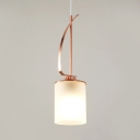 Frosted Glass Cylinder Hanging Light Contemporary 1 Head Pendant Lamp in Gold Finish