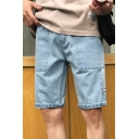 Fashion Large Side Slit Pockets Simple Plain Zip-fly Light Blue Casual Denim Shorts for Men