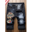 Men's Summer Fashion Embroidery Patched Ripped Detail Zip-fly Denim Shorts