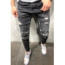 New Fashion Plain Hip Hop Style Knee Cut Men's Black Casual Ripped Skinny Jeans