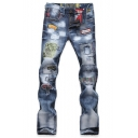 Popular Fashion Figure Letter Patchwork Vintage Washed Light Blue Casual Ripped Jeans for Men