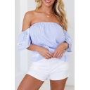Popular Light Blue Striped Printed Sexy Off the Shoulder Hollow Out Lace Panel Blouse Top
