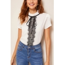 Chic Lace Panel Bow-Tied Stand Collar Short Sleeve White Fitted T-Shirt