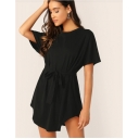 Summer Basic Simple Plain Round Neck Short Sleeve Bow-Tied Waist Mini A-Line Dress