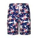 Men's Fashion Casual Blue UK Flag Pattern Drawstring Beach Short Swim Trunks