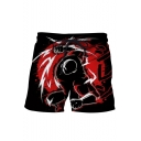 Trendy Comic Figure 3D Print Black Drawstring Waist Beach Shorts Swim Trunks for Guys