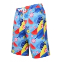 Summer Popular Watermelon Floral Pattern Quick Drying Blue Drawstring Waist Sport Beach Shorts Swim Trunks for Guys with Pocket and Mesh Liner
