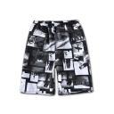 Men's Summer Fashion Camouflage Floral Letter Pattern Quick Drying Drawstring Waist Casual Beach Shorts Swim Trunks