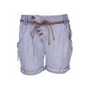 Summer Unique Trendy Womens Plain Tied Waist Oblique Button-Fly Rolled Cuff Shorts