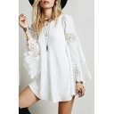 Womens Chic Lace-Panel Bell Long Sleeve Round Neck Mini Swing Dress