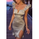 Womens Summer Sexy V-Neck Flutter Sleeve Split Side Ruffled Hem Mini Bodycon Silk Dress
