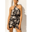 Unique Cool Royal Chain Printed Halter Neck Sleeveless Knotted Front Mini Short Dress