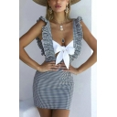 Womens Summer Holiday Fashion Plaid Printed Flutter Hem Hollow Knotted Front Mini Bodycon Dress