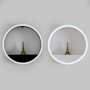 Circular Frame Eiffel Tower Wall Sconce Modern Acrylic Shade LED Wall Lighting in Black/White