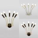 5 Lights Bare Bulb Sconce Wall Light Post Modern Metal Wall Lamp in Gold/Rose Gold/Silver