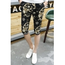 Men's Summer Trendy Floral Printed Drawstring Waist Black Casual Sweat Shorts